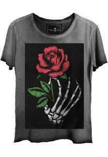 Camiseta Estonada Corte A Fio Skull Flowers
