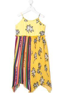 Pinko Kids Vestido Com Estampa Tropical - Amarelo