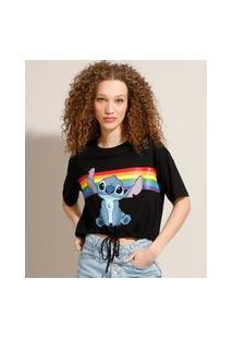 Camiseta Cropped Pride Stitch Com Amarração Manga Curta Decote Redondo Preta
