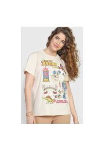 Camiseta Colcci Desenhos Bege