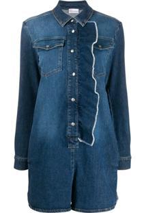 Red Valentino Macacão Jeans Mangas Longas Com Babado - Azul