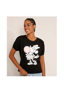 Camiseta Feminina Minnie Manga Bufante Decote Redondo Preta