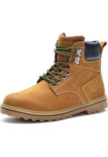 Bota Couro Over Boots Pespontos Amarela