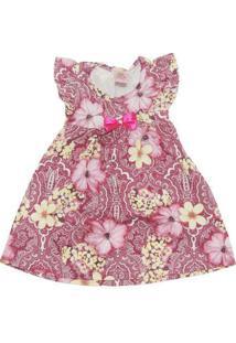 Vestido Infantil Floral Com Laço E Pérola