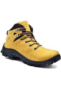 Bota Adventure Masculina Cano Curto Cadarço Macia Resistente - Masculino-Amarelo