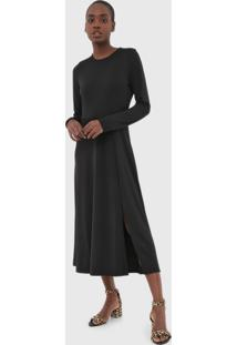 Vestido Banana Republic Midi Fit And Flare Preto