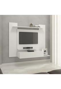 Painel Para Tv Até 43 Pol. Modelo 02 Com 01 Gaveta E 03 Prateleiras - R E S Móveis - Branco