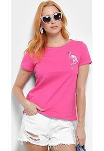 Camiseta Top Moda Flamingo Bordada Feminina - Feminino-Pink