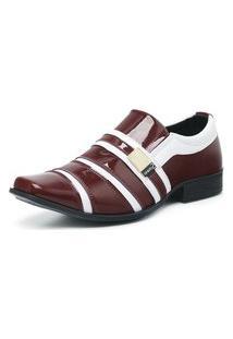 Sapato Social Masculino Envernizado Confortável Bordô/Branco