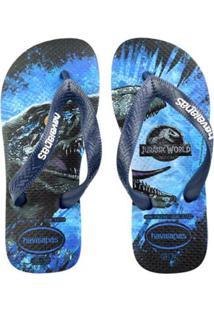 Chinelo Infantil Havaianas Jurassic World Masculino - Masculino-Azul+Preto