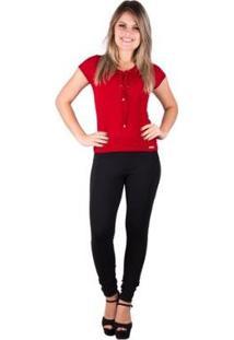 Camiseta Banna Hanna Canelada Com Ilhos Feminina - Feminino-Vermelho