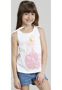 CEA. Regata Infantil Flamingo Com Paetê Dupla Face Decote Redondo Branca d946f6b9905