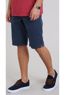 Bermuda De Sarja Masculina Slim Com Bolsos Azul Marinho