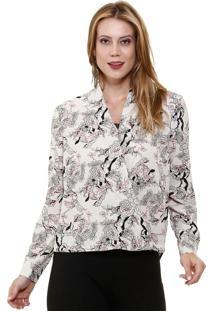 Camisa Feminina Manga Longa Estampa Floral Marisa