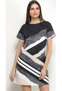 Vestido Blusão Morena Rosa Dress T-Shirt Estampado - Feminino-Preto+Off White