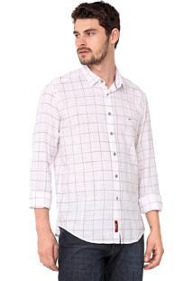 Camisa Aramis Slim Quadriculada Branca/Vermelha