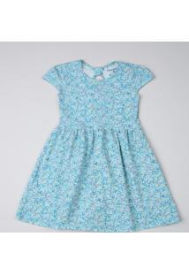 Vestido Infantil Estampado Floral Manga Curta Azul Claro