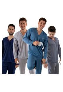 Kit 4 Pijamas Longos 080 Linha Noite