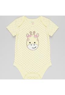 Body Infantil Girafa Estampado De Poá Manga Curta Amarelo