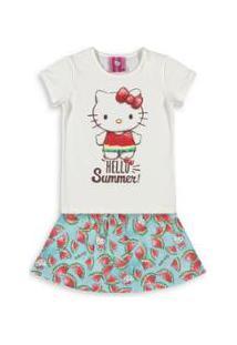 Conjunto Bebê Hello Kitty Feminina - Feminino-Branco