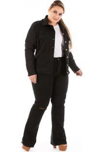 Jaqueta Jeans New Stretch Com Puídos Plus Size - Kanui