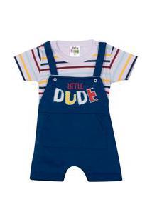 Jardineira Sempre Kids Masc. Com Blusa Bebê Azul
