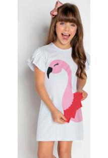 Vestido De Flamingo Com Babados Branco