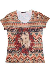 Camiseta Tassa Gold Estampada Feminina - Feminino-Marrom