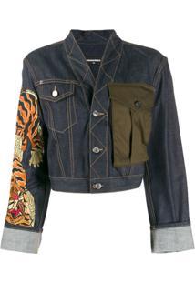Dsquared2 Jaqueta Jeans Com Estampa - Azul