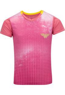 Camiseta Liga Da Justiça Dc Mulher-Maravilha Feminina - Infantil - Rosa/Amarelo