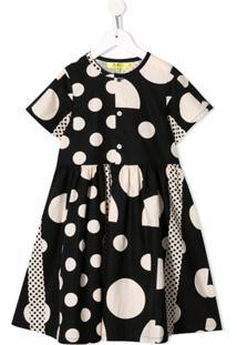 Melt Vestido Bicolor Com Estampa De Círculos - Preto