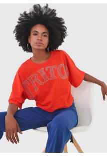 Camiseta Triton Aplicaã§Ãµes Laranja - Laranja - Feminino - Algodã£O - Dafiti