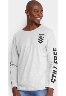 Camiseta Ecko Manga Longa Estampada Masculina - Masculino-Cinza Claro 380311457c15c