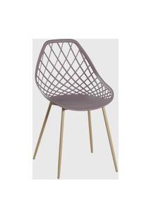 Cadeira Cloe Base Aço Camurça Rivatti Bege
