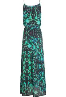 Vestido Longo Ateen Seda - Verde E Preto