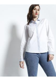 Camisa Com Recortes Listrado - Branca & Azul Clarous Polo