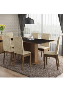 Conjunto Sala De Jantar Malu Madesa Tampo De Madeira Com 6 Cadeiras Marrom - Tricae