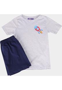 Pijama Zeep! Listrado Foguete Curto Masculino - Masculino