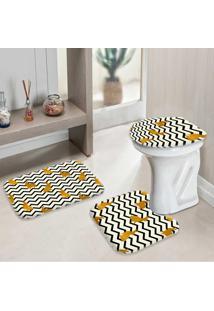 Jogo Tapetes Para Banheiro Páscoa Chevron Gold