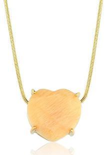 Colar Toque De Joia Coração Pedra Natural Amazonita Nude Ouro Amarelo