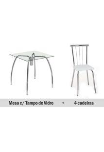 Conjunto Mesa Jantar Carraro- Base 1502 C/Tampo Vidro 80Cm+4 Cadeiras 154- Cromada- Assento Branco