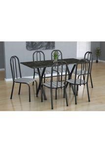 Conjunto De Mesa Miame Com 6 Cadeiras Madri Preto Prata E Preto Listrado