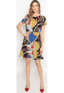 Vestido Com Recortes Vazados - Preto & Verdedonna Mila