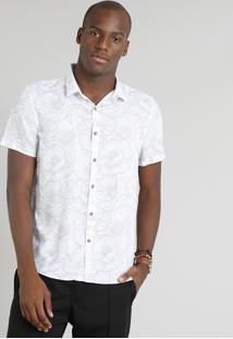 Camisa Masculina Estampada Floral Manga Curta Branca