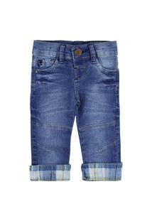 Calça Para Bebê Mox Jeans Menino Com Lavagem Especial Barra Xadrez Recorte No Joelho