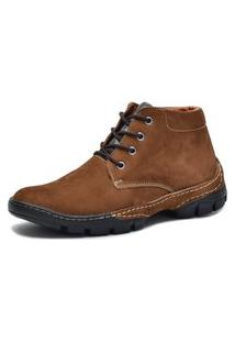 Bota Cano Curto Over Boots Couro Nobuck Taupe