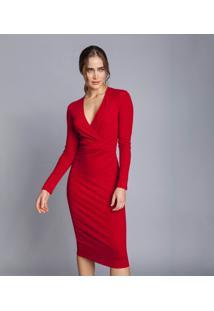 Vestido Mídi Transpassado Vermelho Bulgaria - Lez A Lez