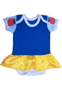Body Bebê Piftpaft Fantasia Saia Branca Neve Feminino - Feminino-Azul