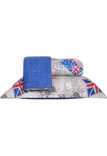 Colcha Ultrassonic King Com Porta Travesseiro Britânica