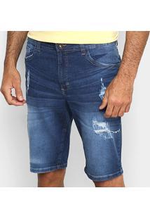 Bermuda Jeans Malwee Slim Puídos Masculina - Masculino-Azul